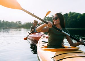 Photo of couple kayaking