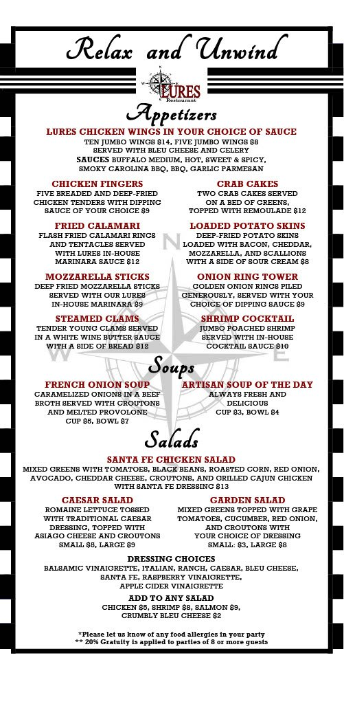 Front Page of Limited Menu